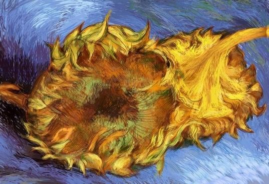 van gogh sunflowers vector