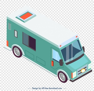 van truck icon green 3d sketch