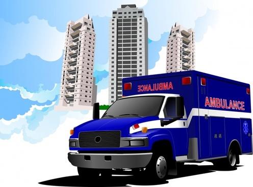 emergency banner ambulance hospital sketch 3d design