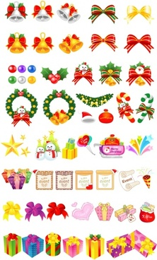 variety christmas gift cartoon vector elements and