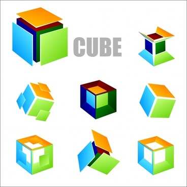 geometric background cubes icons 3d design