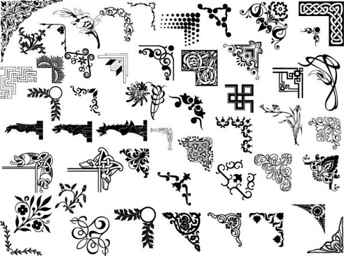 document decoration design elements classical black white sketch