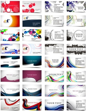 variety of dynamic flow line business card template 01 vector