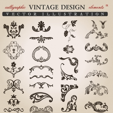 document design elements black white vintage shapes