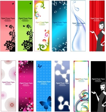fashion background sets colorful flower butterfly bubbles decor