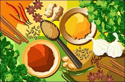 variety of seasonings and ingredients psd layered