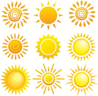 sun icons colored flat simple shapes