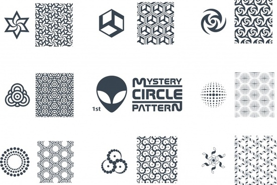 pattern design elements classical symmetric flat shapes