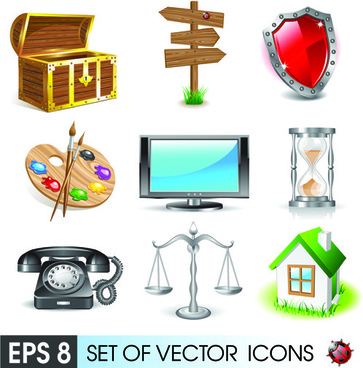 various 3d icons mix vector graphics