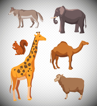 various animals vector illustration with colored design