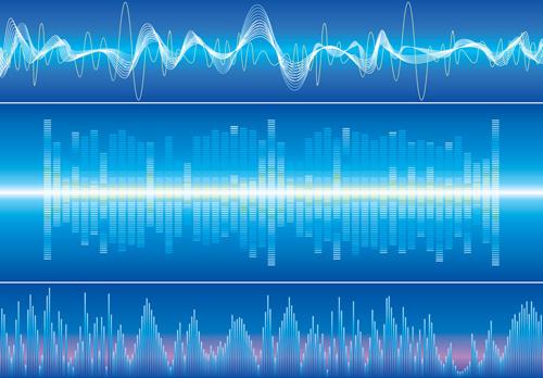 various audio wave light vector backgrounds set