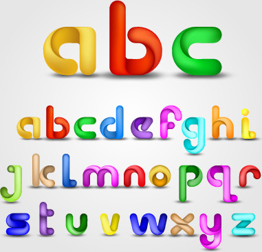 various bright colored alphabet design vector set
