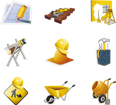 various builders icons mix vector set