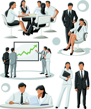 various business people vector set