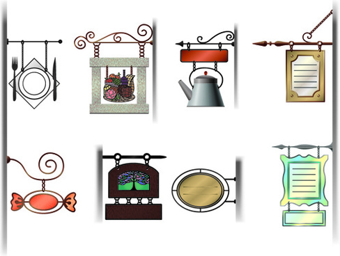 various cafe signs vector set