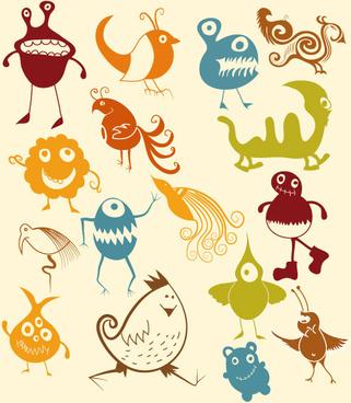 various cartoon monster pattern vector