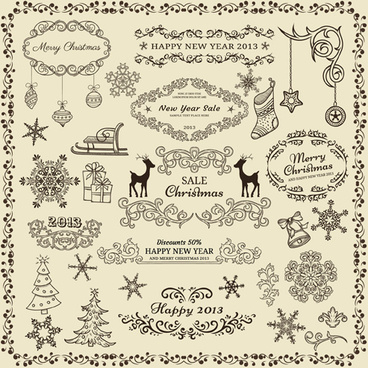 various christmas decor elements vector set