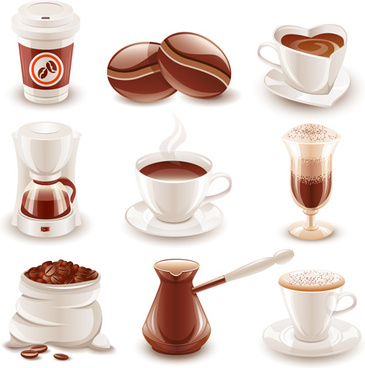 various coffee drinks vector design