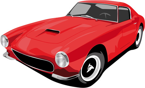 various color of retro cars vector