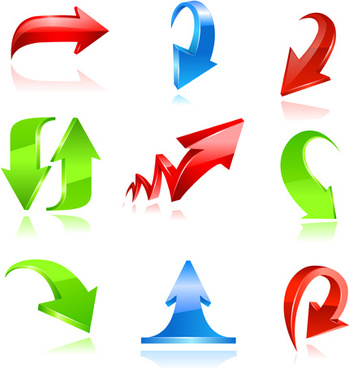 various colorful arrows vector graphics