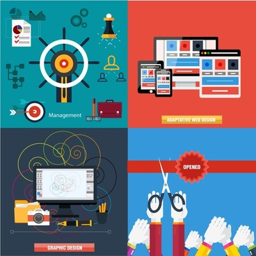 various concept elements isolated with flat color style