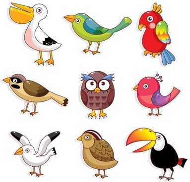various cute birds vector set