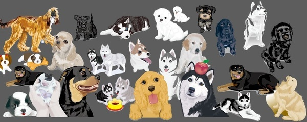Various cute dog element vector