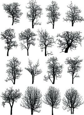 various dead trees vector set