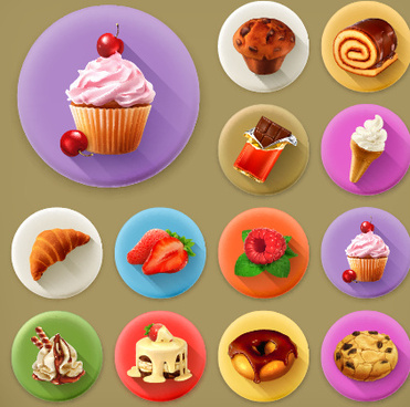various dessert and food flat icons vector