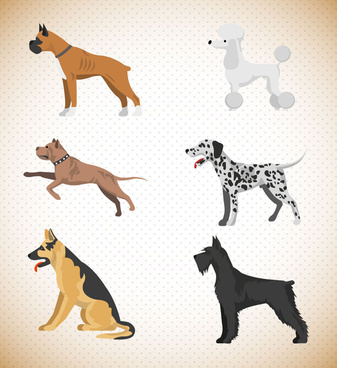 various dogs vector illustration with color style