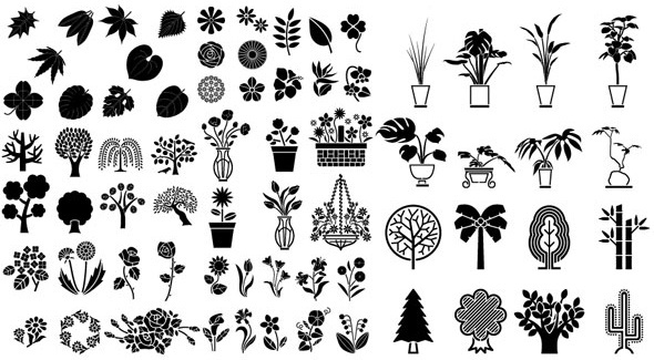 various elements of vector silhouette flowers and trees 69 elements