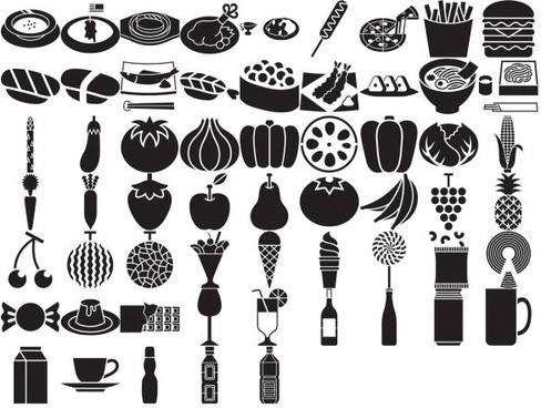 various elements of vector silhouette food category 59 elements