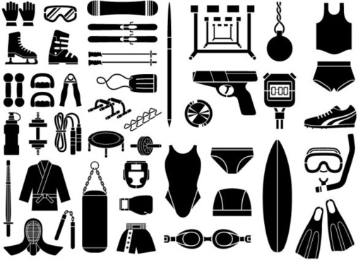 various elements of vector silhouette sports equipment equipment 51 elements