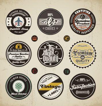 various elements vintage labels vector