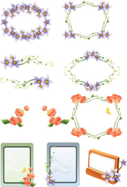 various floral color frames vector set