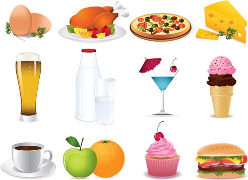 various food elements mix vector