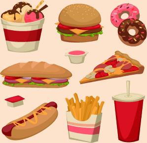 various food elements vector set