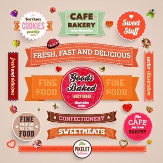 various food label vector set