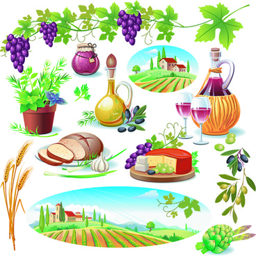 various food with grapes vector set