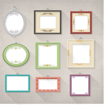 various frames hanging on wall vector illustration