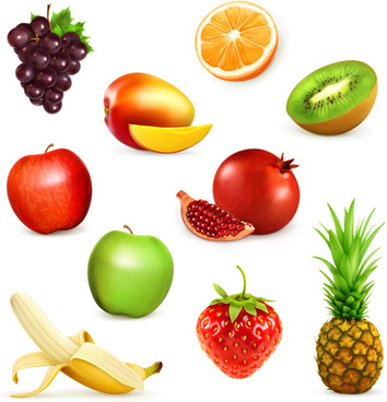 various fresh fruits vector illustration