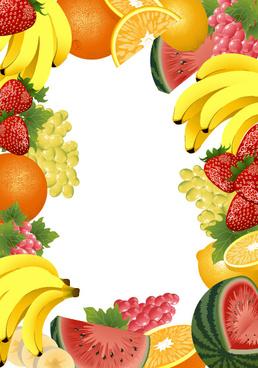 various fruits frame vector