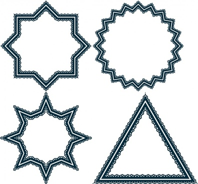 various geometric shapes vector illustration with classical border