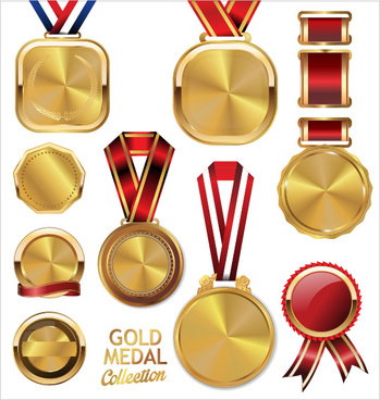 various gold medal vector set