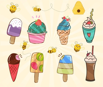various ice creams collection illustration with bees