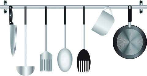 various kitchen cutlery set vector