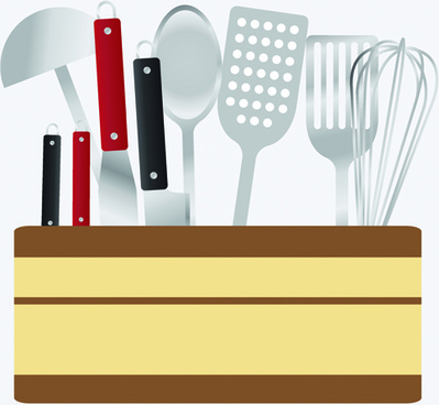 various kitchen cutlery set vector