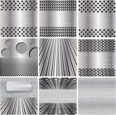 various metal style background set vector