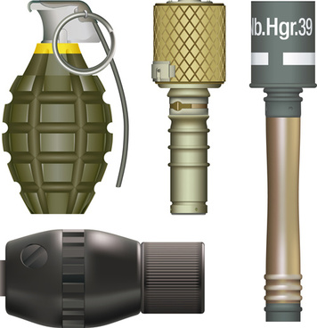 various military equipment design elements vector set