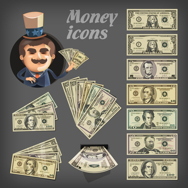 various money design elements vector